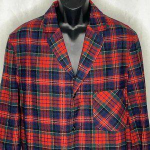 Vtg 60s Pendleton Smoking Jacket Red Macpherson